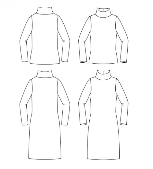 Kleid Falum teschnische Zeichnungen